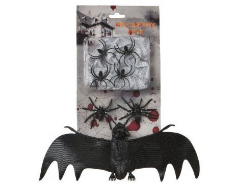 Spiderweb with a Bat 28 x15cm Halloween Trick Or Treat Spooky